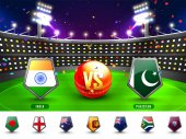 Cricket Match Participating Countries Flag Shields
