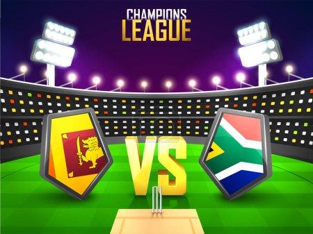Sri Lanka Vs South Africa Countries Flag Shields for Cricket.