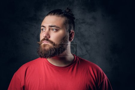 Bearded male in a red t shirt