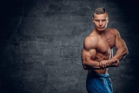 Shirtless sporty man