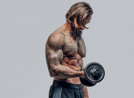 Photo for Shirtless bearded man with tattooed body holding dumbbell on light grey background. - Royalty Free Image