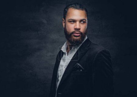 Photo for Portrait of bearded african man in black jacket - Royalty Free Image
