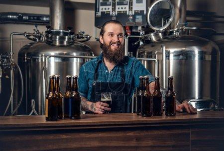 Man presenting beer microbrewery