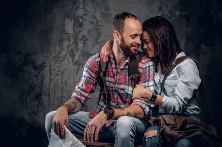 Loving couple ready to travel