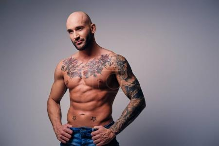 Muscular male with tattoos