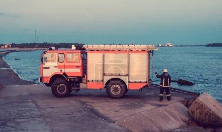 Fire truck pumping water