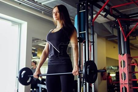 Athletic female working out with dumbbells