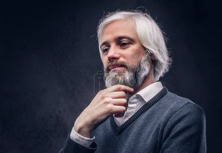 Portrait of a thoughtful aged male with a gray hair and beard isolated on a dark background.