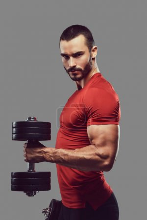 Photo for Studio portrait of a bearded brutal male. Isolated on a gray background. - Royalty Free Image