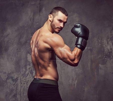 Photo pour Un boxeur musculaire brutal avec gants de boxe, travaillant sur le découpage technique. - image libre de droit