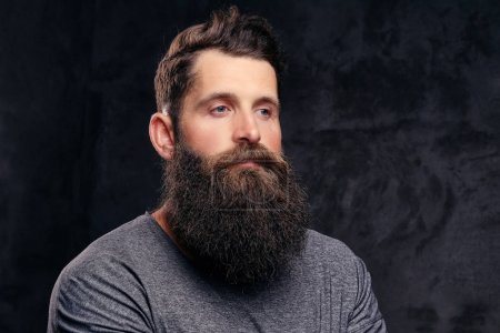 Photo for Close-up portrait of a hipster with full beard and stylish haircut, dressed in a gray t-shirt, stands in a studio on a dark background. - Royalty Free Image