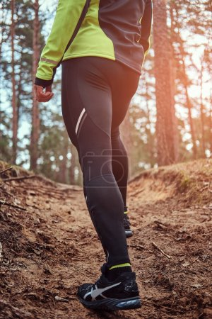 Athlete climbs up the hill along the forest trail. An active way of life, rear view.