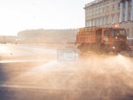 SAINT PETERSBURG, RUSSIA - March 07, 2016: Special truck for city cleaning in the Central square in Saint-Petersburg, Russia