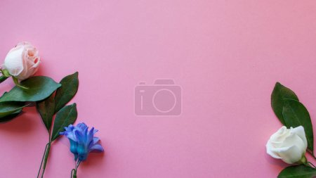Photo for Flat lay, flowers on pink background, free space for your text - Royalty Free Image