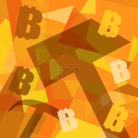 Photo for Bitcoins mining background with working tools and bitcoin symbols - Royalty Free Image