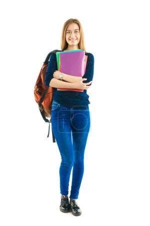 Photo pour Jolie étudiante fille avec un sac à dos et des dossiers de couleur - image libre de droit
