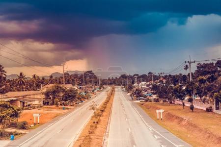 City road in tropical Ao-Nang, Krabi province, Thailand