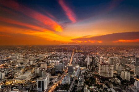 Colorful cityscape in sunset light. Bangkok