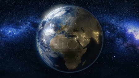Planet Earth in black and blue Universe of star