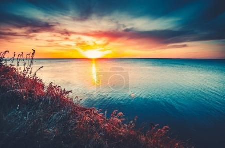 Colorful and Dramatic Sunset Sky Ocean Background