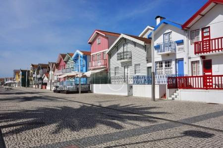 Striped colored houses, Costa Nova, Beira Litoral, Portugal, Eur