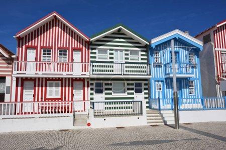Striped colored houses, Costa Nova, Beira Litoral, Portugal, Eur