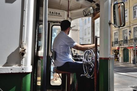 The tram driver, Lisbon, Portugal