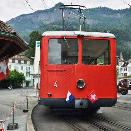 Red Train at Vitznau station, Lucerne Switzerland