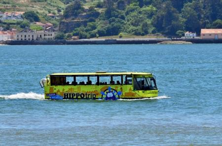 Amphibious vehicle in the River Tagus. Lisbon, Portugal