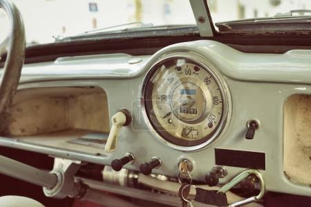 Cockpit of the retro car