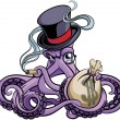Vector colourful illustration of octopus smoking c...