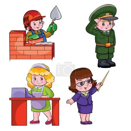 Photo pour Enfants dans différentes professions, illustration vectorielle - image libre de droit
