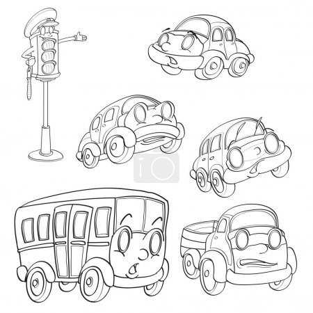 collection of cartoon characters cars