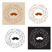logo with icons of food and mustache