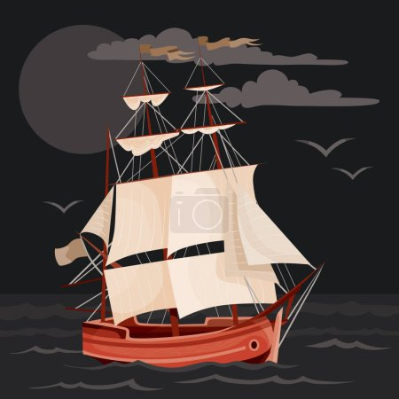 cartoon sailing ship in sea