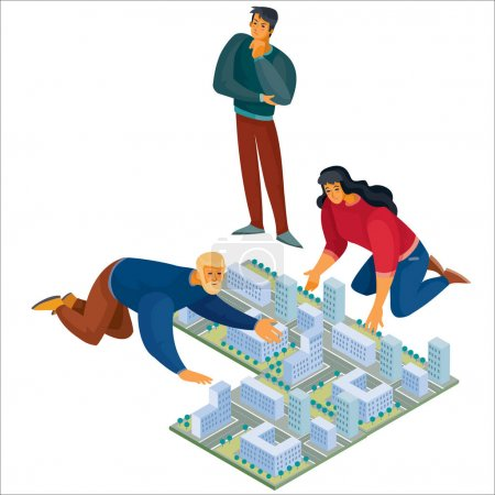 3d isometría, hombre y mujer se inclinó sobre el diseño de la ciudad, el hombre se para y cuidadosamente mirar el mapa, objeto aislado sobre un fondo blanco, ilustración vectorial