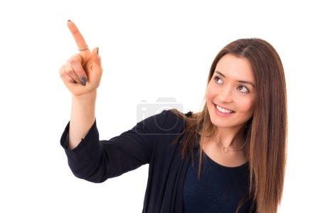 A woman touching a key - Touchscreen concept