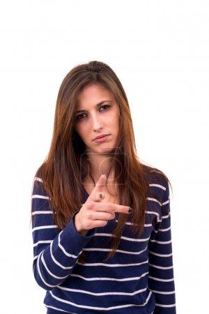 Foto de Imagen del estudio de una joven mujer señalando - Imagen libre de derechos