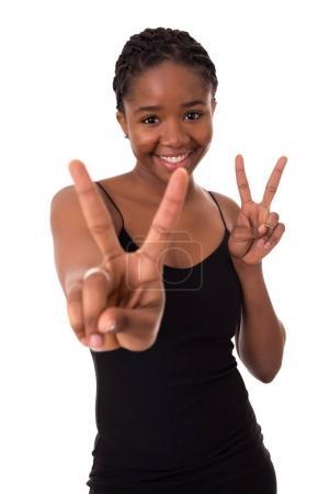 African woman signaling ok