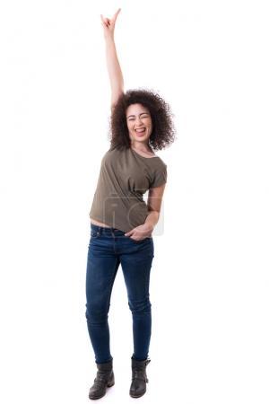 happy woman raising her arm