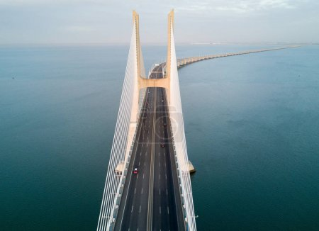 Vasco da Gama Bridge at sunny day