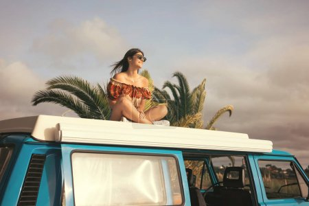 Photo for Young woman travelling by car. Summer holidays, road trip, travel and people concept - Royalty Free Image