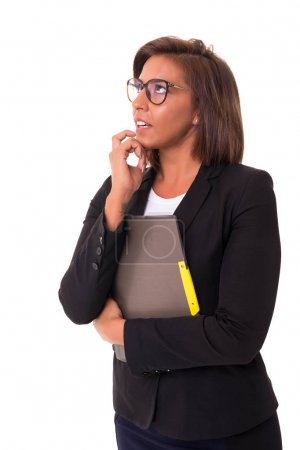 Young woman with glasses posing