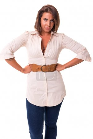 angry  woman, isolated over white
