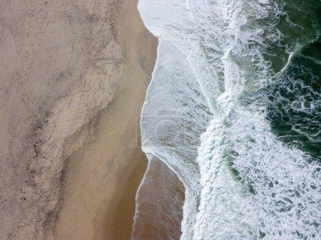 Drone view of beautiful Portuguese beach of Costa Nova do Prado - Aveiro