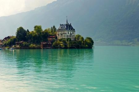 Photo pour Lac alpin Brienz de la région de Jungfrau, vue depuis Iseltwald en Suisse - image libre de droit