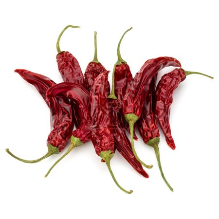 Dried red chili or chilli cayenne peppers