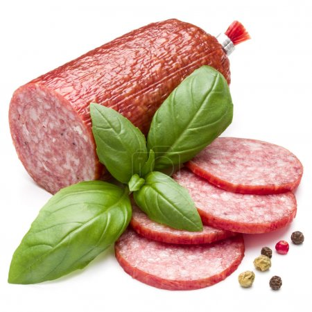 Salami smoked sausage, basil leaves and peppercorn...