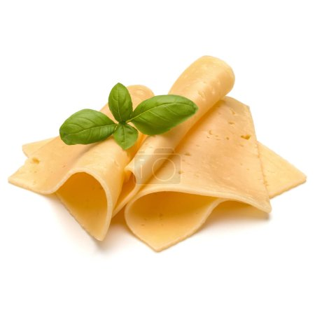 cheese slices and basil herb leaves