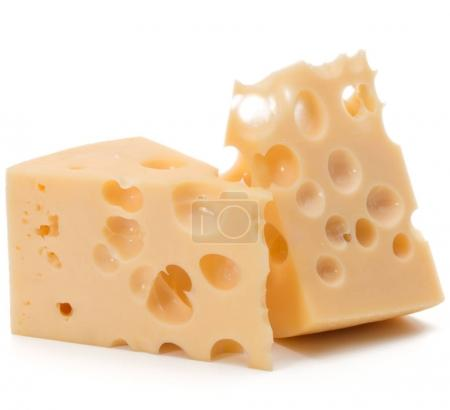 Photo for Cheese blocks isolated on white background cutout - Royalty Free Image
